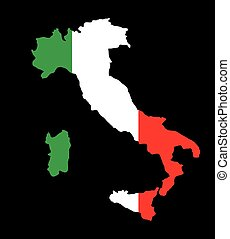 Italy map with flag inside in black