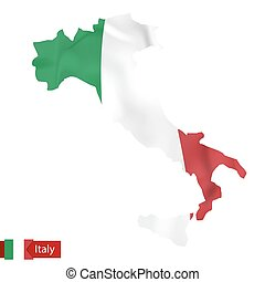 Italy map with waving flag of Italy.