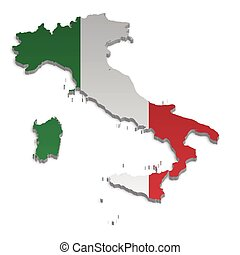Italy Map_4 - A simple 3D map of Italy.