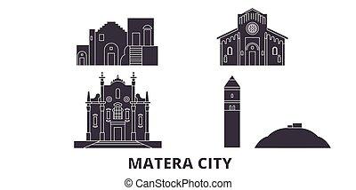 Italy, Matera City flat travel skyline set. Italy, Matera...