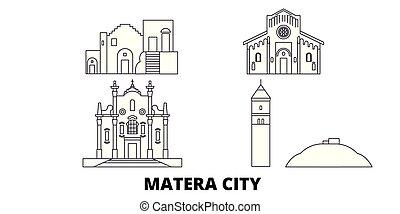 Italy, Matera City line travel skyline set. Italy, Matera...
