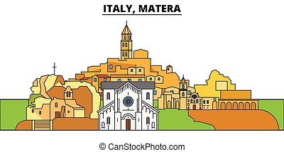 Italy, Matera. City skyline, architecture, buildings, streets, silhouette, landscape, panorama, landmarks. Editable strokes. Flat design line vector illustration concept. Isolated icons