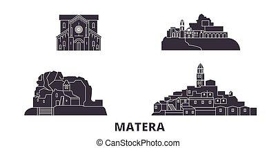Italy, Matera flat travel skyline set. Italy, Matera black...
