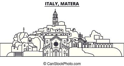 Italy, Matera line skyline vector illustration. Italy,...