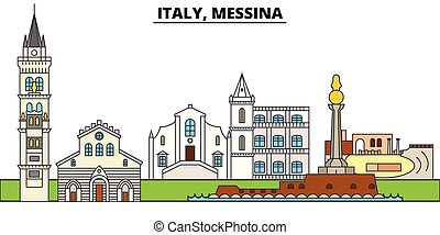 Italy, Messina. City skyline, architecture, buildings, streets, silhouette, landscape, panorama, landmarks. Editable strokes. Flat design line vector illustration concept. Isolated icons