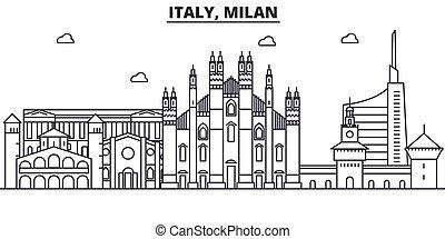 Italy, Milan architecture line skyline illustration. Linear...