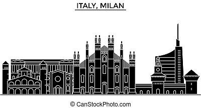 Italy, Milan architecture vector city skyline, travel...