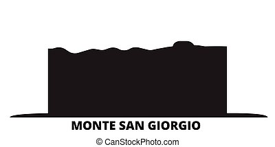 Italy, Monte San Giorgio city skyline isolated vector illustration. Italy, Monte San Giorgio travel cityscape with landmarks