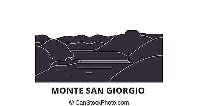 Italy, Monte San Giorgio flat travel skyline set. Italy, Monte San Giorgio black city vector panorama, illustration, travel sights, landmarks, streets.