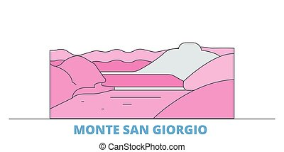 Italy, Monte San Giorgio cityscape line vector. Travel flat city landmark, oultine illustration, line world icons