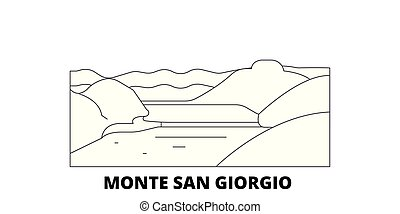 Italy, Monte San Giorgio line travel skyline set. Italy, Monte San Giorgio outline city vector panorama, illustration, travel sights, landmarks, streets.