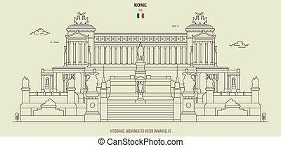 italy., monument, rome, repère, vittoriano, emmanuel vainqueur, ii, icône