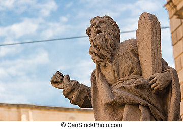 Acireale (Sicily, Italy): Historic baroque architecture - Moses' statue