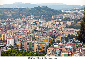 Italy. Naples. View of the city on top