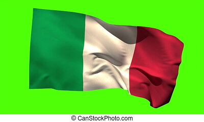 Italy national flag blowing in the wind