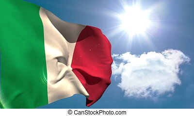 Italy national flag waving on blue sky background with sun...