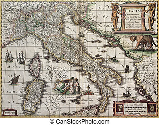 Italy old map. Created by Henricus Hondius, published in...