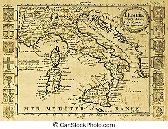 Italy old map - Map of Italy framed by territorial crests....