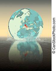 Italy on globe splashing in water