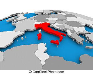 Italy on political globe