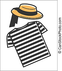 Italy or Venice gondolier shirt and hat symbols of Italian culture travel