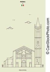 italy., parma, grenzstein, ikone, kathedrale