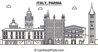Italy, Parma line skyline vector illustration. Italy, Parma...