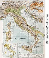 Italy physical map - Old physical map of Italy. By Paul...