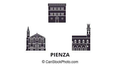 Italy, Pienza flat travel skyline set. Italy, Pienza black...
