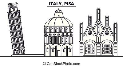 Italy, Pisa line skyline vector illustration. Italy, Pisa linear cityscape with famous landmarks, city sights, vector design landscape.