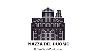 Italy, Pisa, Piazza Del Duomo flat travel skyline set. Italy, Pisa, Piazza Del Duomo black city vector panorama, illustration, travel sights, landmarks, streets.