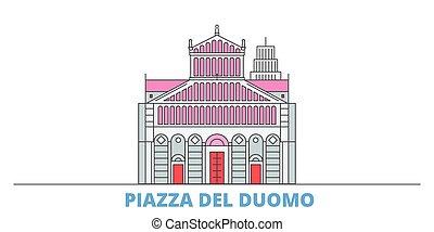 Italy, Pisa, Piazza Del Duomo cityscape line vector. Travel flat city landmark, oultine illustration, line world icons