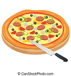 Italy Pizza on the chalkboard with the ingredients and knife isolated on write background. Appetizing pizza with mushrooms, mozzarella, meat, pepperoni. Fast food. Vector illustration.