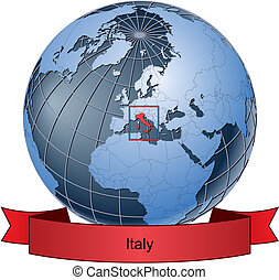 Italy, position on the globe Vector version with separate layers for globe, grid, land, borders, state, frame; fully editable