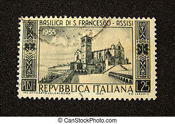 Italy postage stamp on black background....