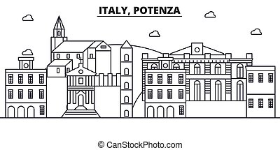 Italy, Potenza architecture line skyline illustration. Linear vector cityscape with famous landmarks, city sights, design icons. Landscape wtih editable strokes