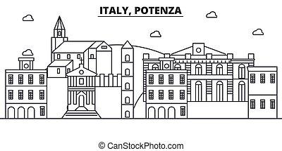 Italy, Potenza architecture line skyline illustration....