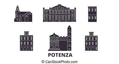 Italy, Potenza flat travel skyline set. Italy, Potenza black...