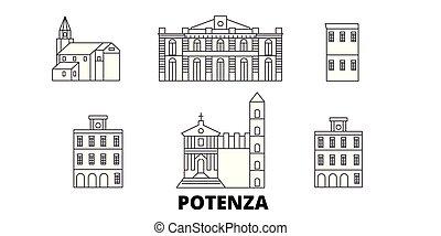 Italy, Potenza line travel skyline set. Italy, Potenza...