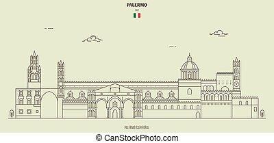 italy., punto di riferimento, icona, cattedrale, palermo