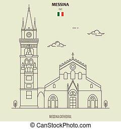 italy., punto di riferimento, messina, icona, cattedrale