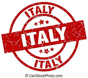 Italy red round grunge stamp