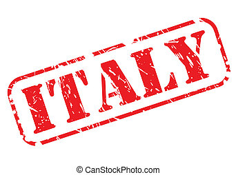 ITALY red stamp text on white background
