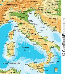 Italy relief map - Highly detailed physical map of Italy, in...
