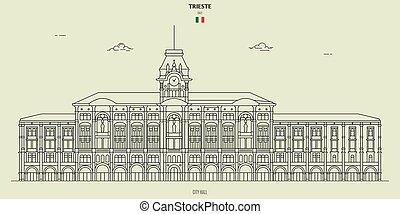 italy., repère, trieste, hôtel ville, icône