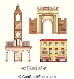 Italy, Rimini outline city buildings, linear illustration, travel landmark