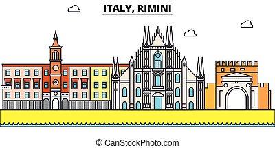 Italy, Rimini outline city skyline, linear illustration, banner, travel landmark, buildings silhouette,vector