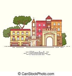 Italy, Rimini outline city skyline, linear illustration, banner, travel landmark