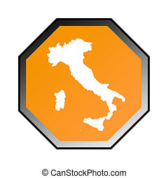 Italy road sign isolated on a white background.