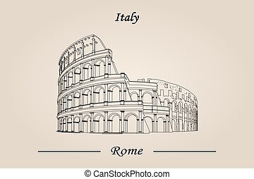 italy., rom, isolerat, illustration, vektor, colosseum